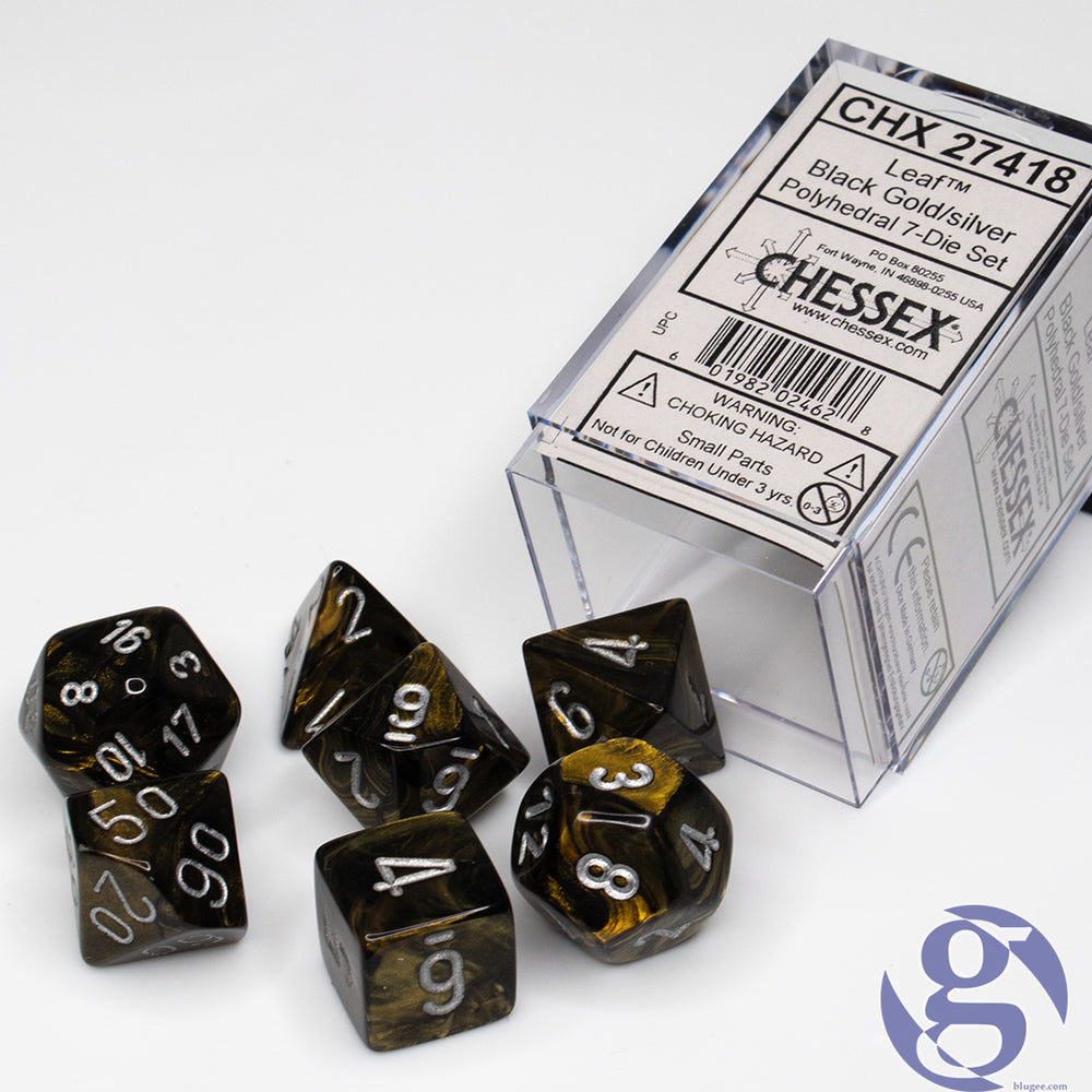 Chessex: CHX 27418 - Leaf Black Gold/silver Polyhedral 7-Die Set