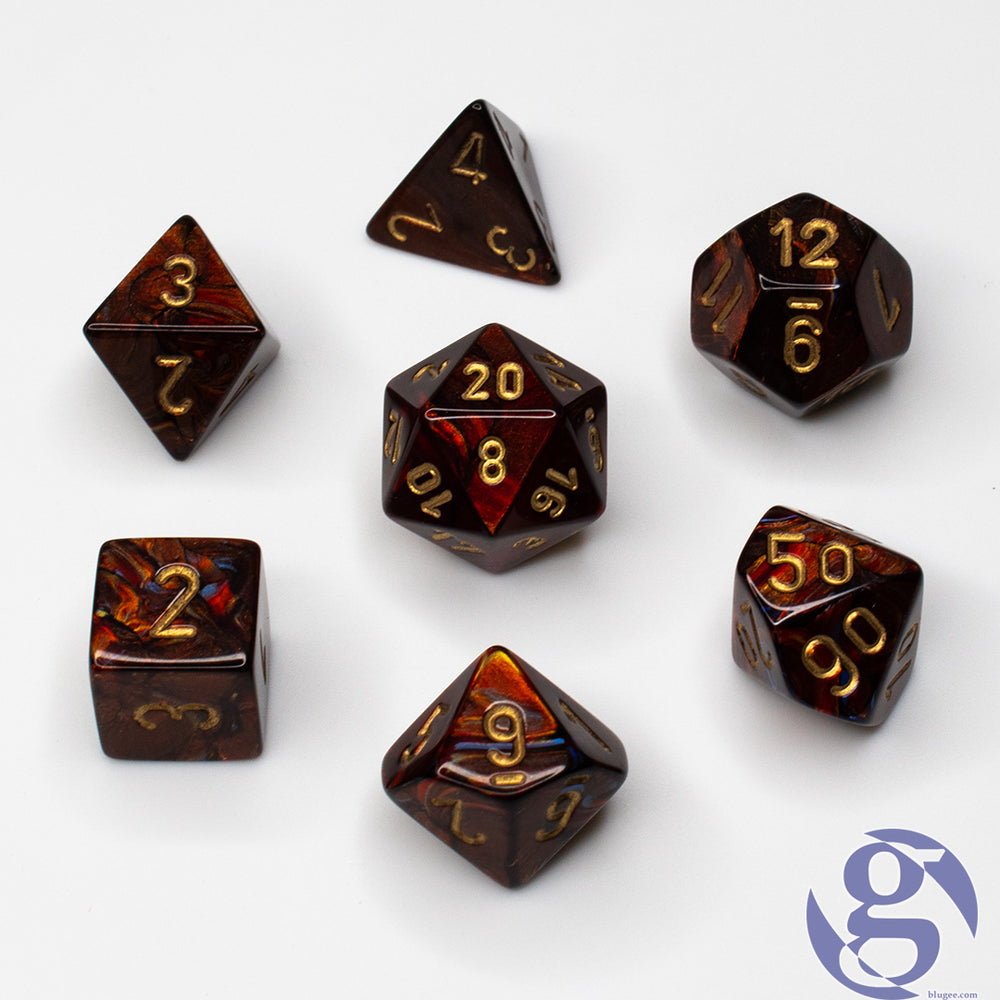 Chessex: CHX 27419 - Scarab Blue Blood/gold Polyhedral 7-Die Set