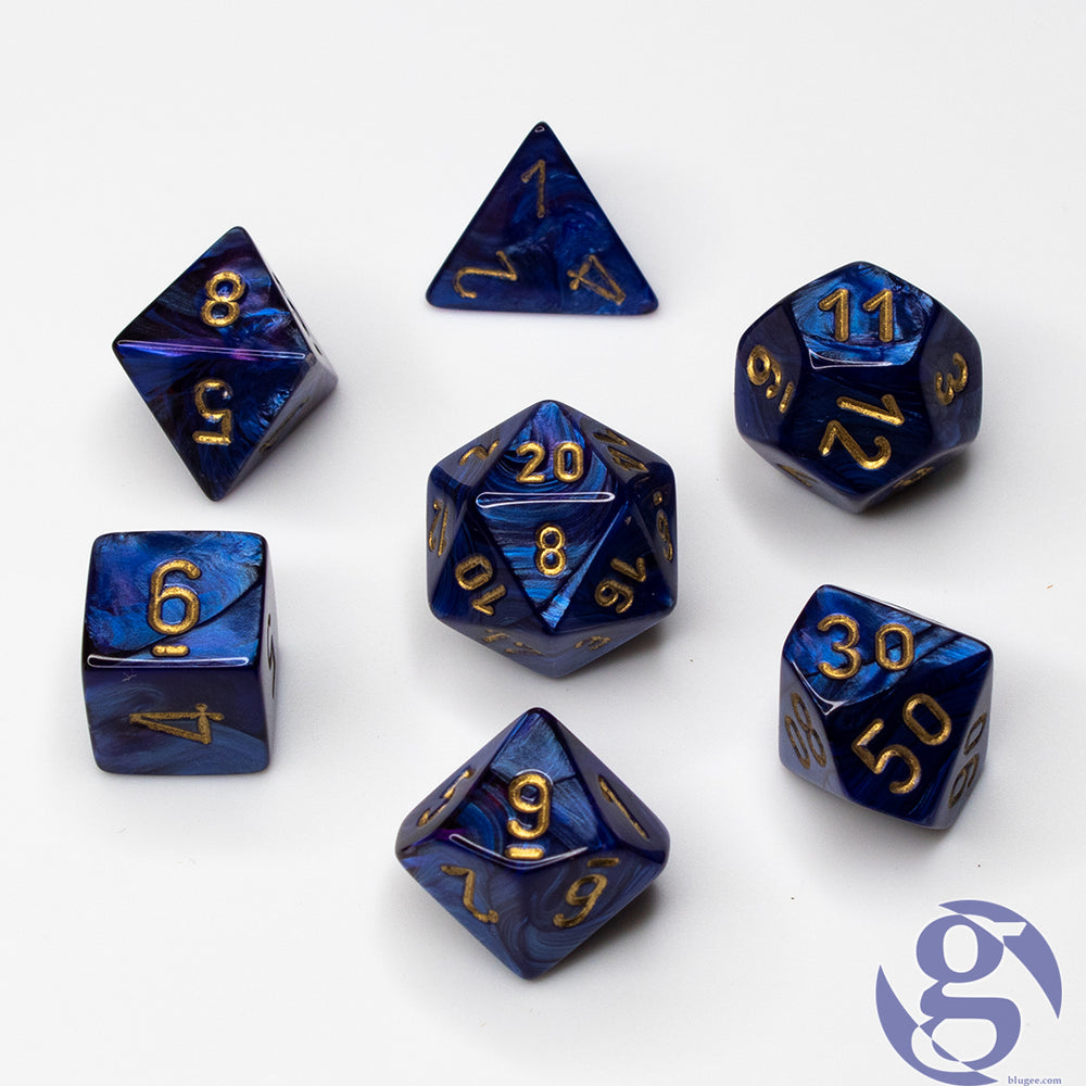 Chessex: CHX 27427 - Scarab Royal Blue/gold Polyhedral 7-Die Set