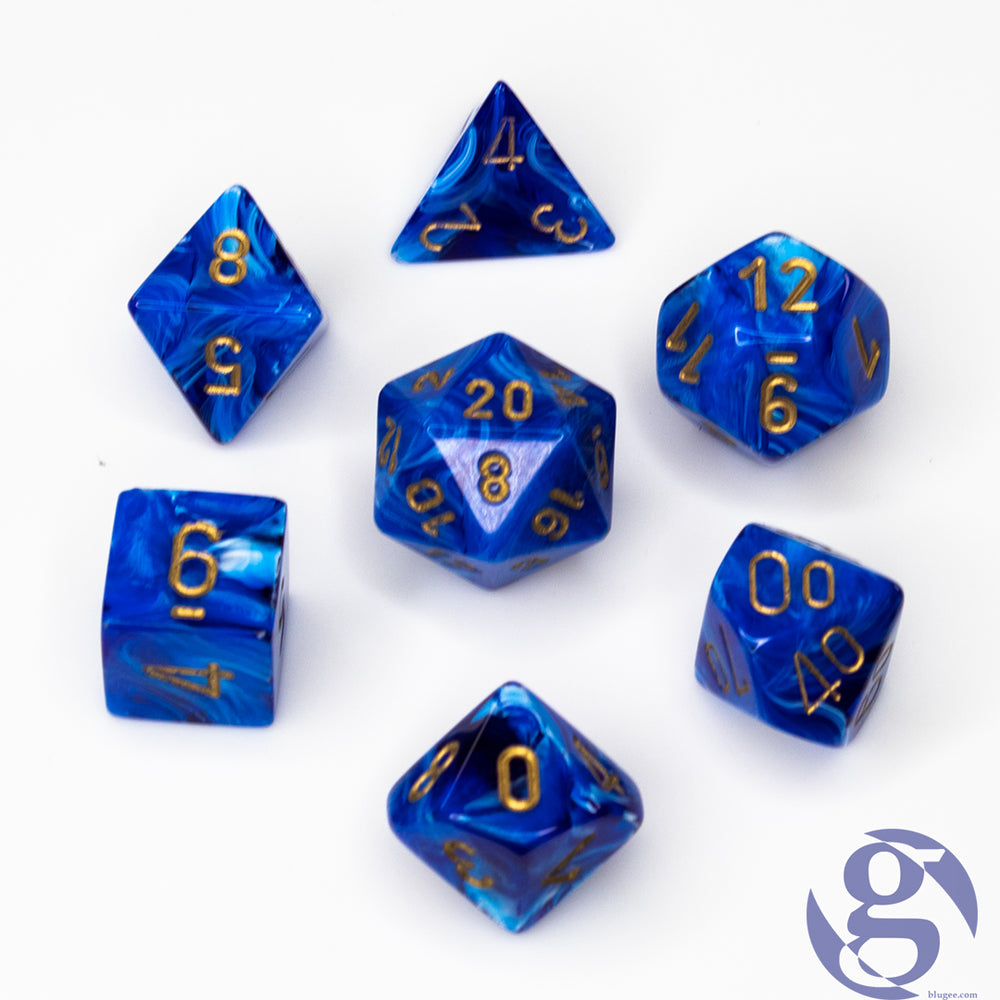 Chessex: CHX 27436 - Vortex Blue/gold Polyhedral 7-Die Set
