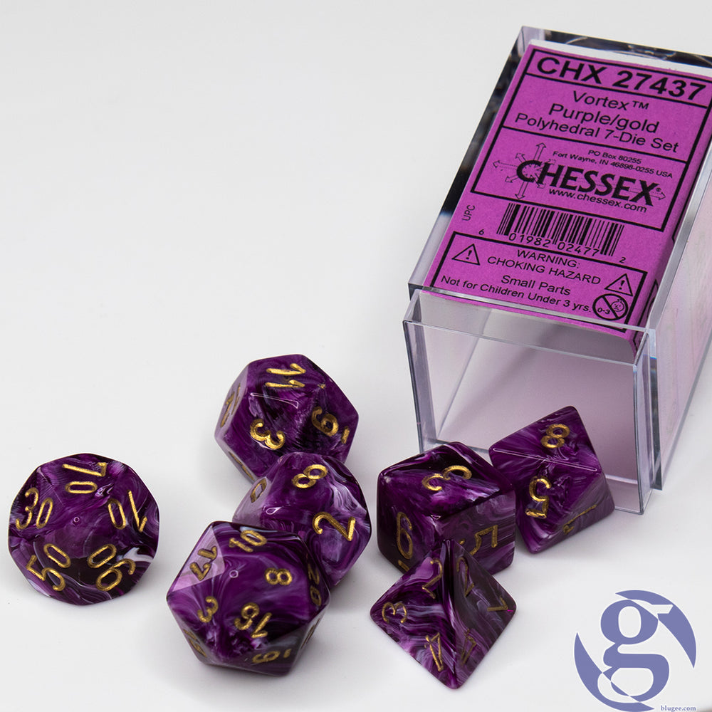 Chessex: CHX 27437 - Vortex Purple/gold Polyhedral 7-Die Set