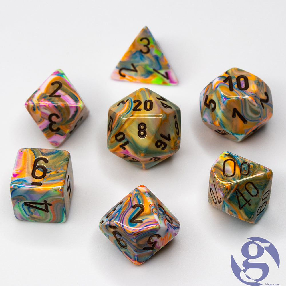 Chessex: CHX 27441 - Festive Vibrant/brown Polyhedral 7-Die Set