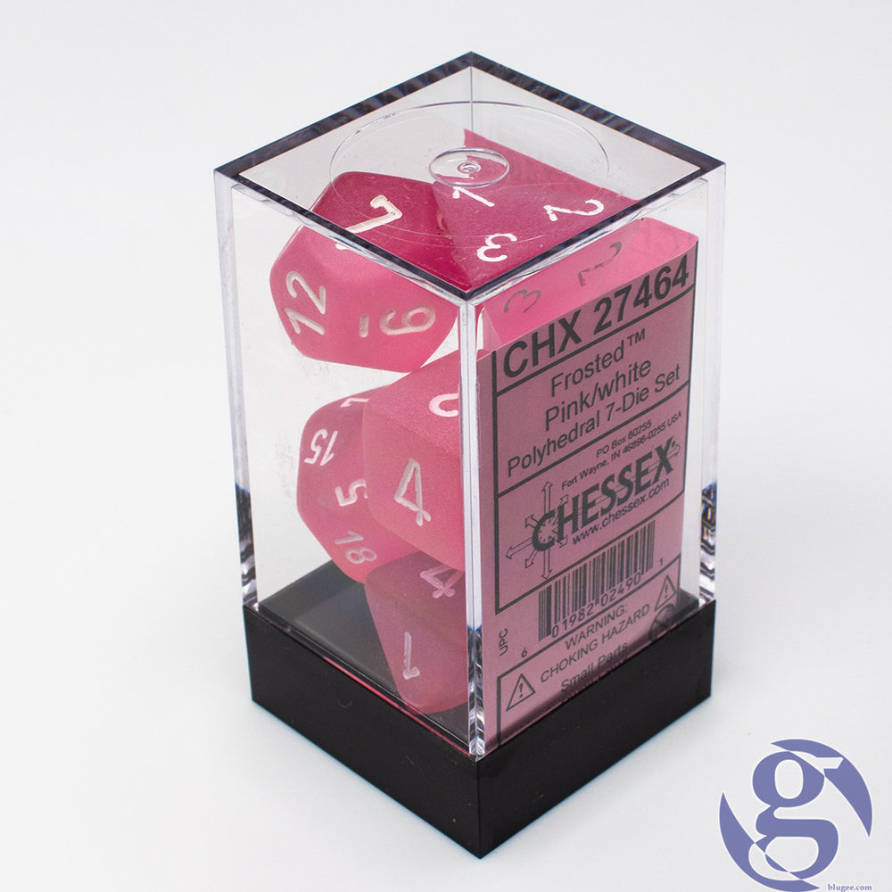 Chessex: CHX 27464 - Frosted Pink/white Polyhedral 7-Die Set