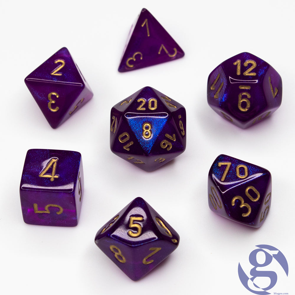 Chessex: CHX 27467 - Borealis Royal Purple/gold Polyhedral 7-Die Set