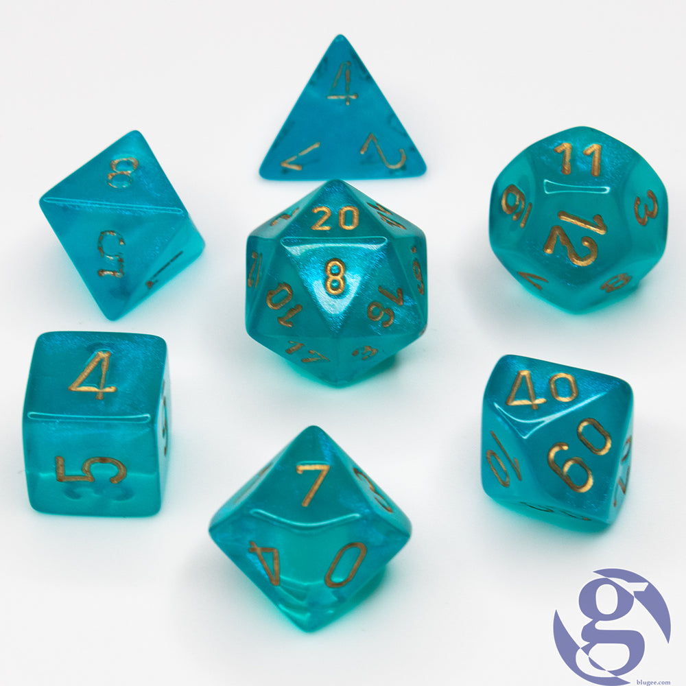 Chessex: CHX 27486 - Borealis Teal/gold Polyhedral 7-Die Set