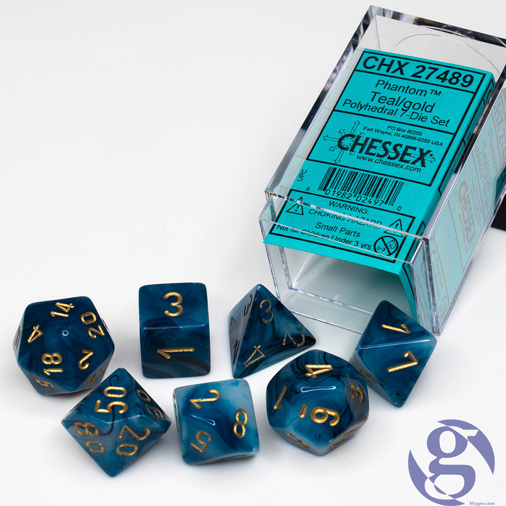 Chessex: CHX 27489 - Phantom Teal/gold Polyhedral 7-Die Set