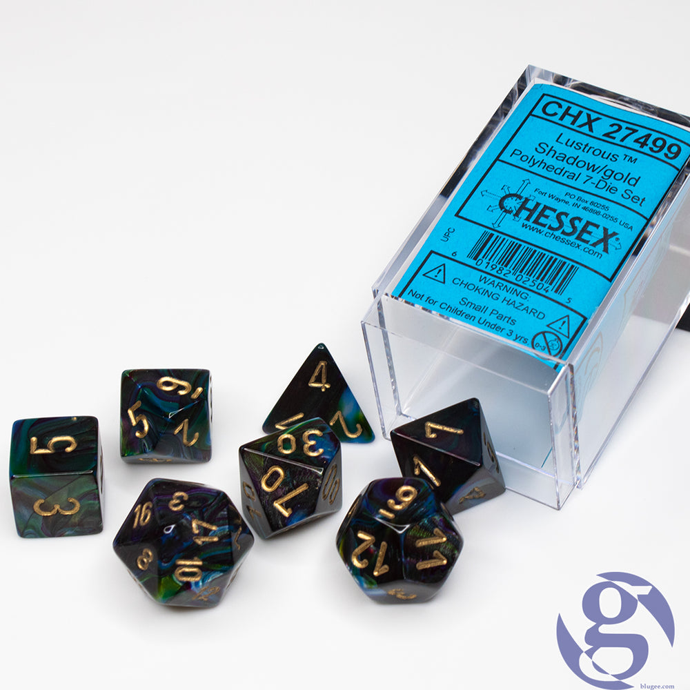 Chessex: CHX 27499 - Lustrous Shadow/gold Polyhedral 7-Die Set