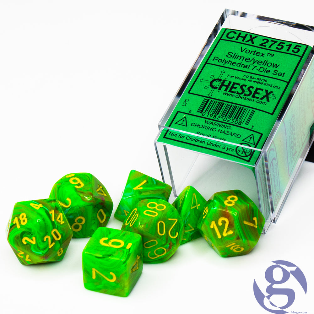 Chessex: CHX 27515 - Vortex Slime/yellow Polyhedral 7-Die Set