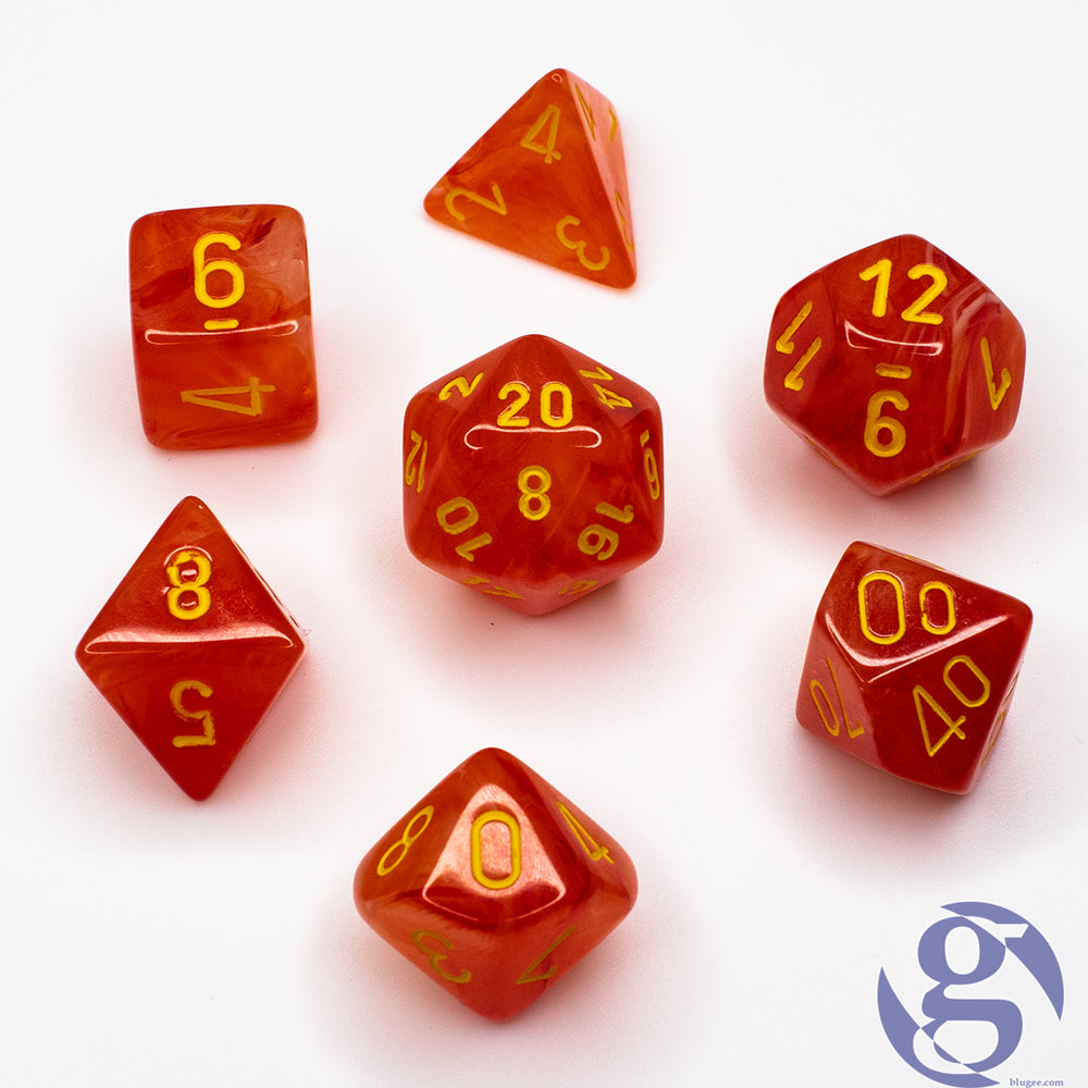 Chessex: CHX 27523 - Ghostly Glow Orange/yellow Polyhedral 7-Die Set