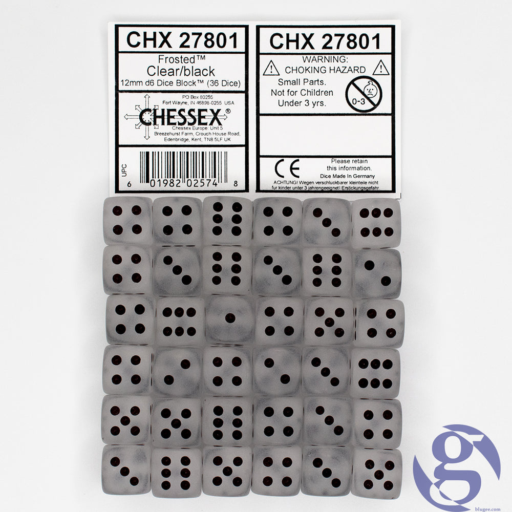 Chessex: CHX 27801 - Frosted Clear/white 12mm d6 Dice Set