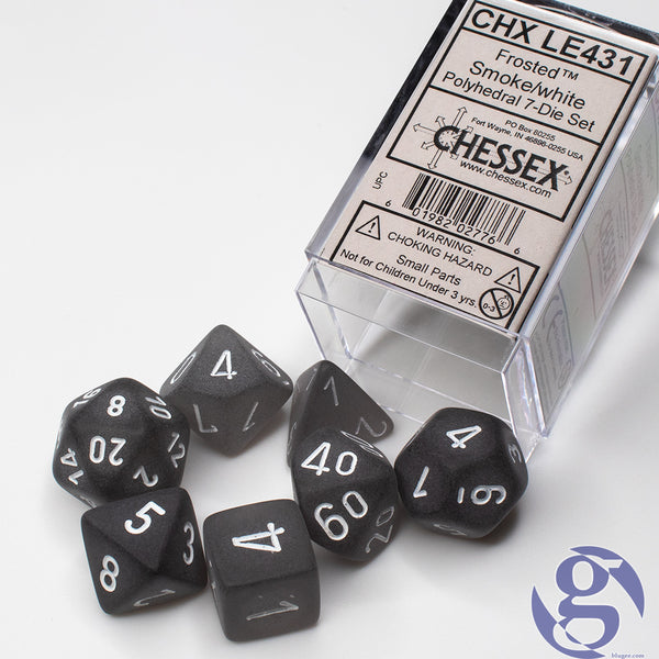Chessex: CHX LE431 - Frosted Smoke/white Polyhedral 7-Die Set