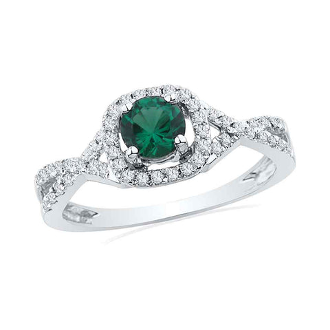 10kt White Gold Womens Round Lab-Created Emerald Solitaire Diamond Ring 3/4 Cttw