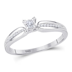 10kt White Gold Womens Princess Diamond Solitaire Promise Ring 1/6 Cttw