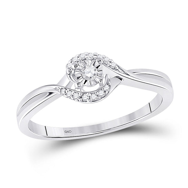 10kt White Gold Womens Round Diamond Solitaire Promise Ring 1/10 Cttw