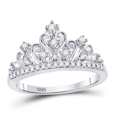 10k White Gold Round Diamond Womens Womens Crown Tiara Cocktail Band 1/5 Cttw