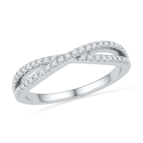 10kt White Gold Womens Round Diamond Crossover Band Ring 1/4 Cttw