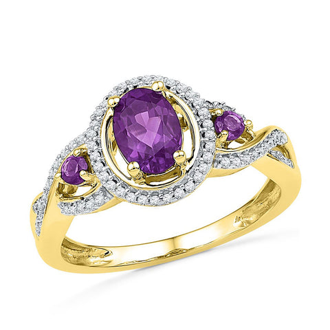 10kt Yellow Gold Womens Oval Lab-Created Amethyst Solitaire Diamond Ring 1 Cttw