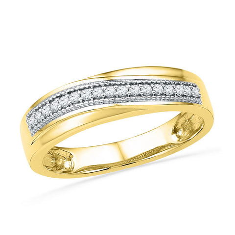 10k Yellow Gold Womens Round Diamond Wedding Anniversary Band 1/6 Cttw