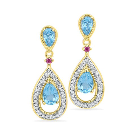 10kt Yellow Gold Womens Oval Lab-Created Blue Topaz Diamond Dangle Earrings 1-5/8 Cttw
