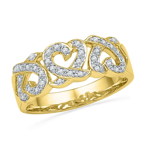 10kt Yellow Gold Womens Round Diamond Triple Heart Band Ring 1/5 Cttw