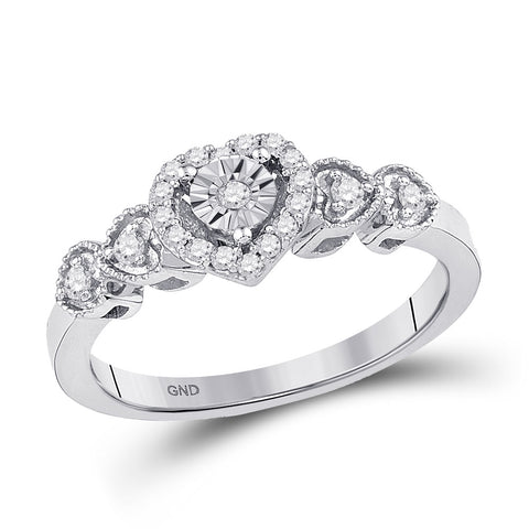 10kt White Gold Womens Round Diamond Heart Ring 1/5 Cttw