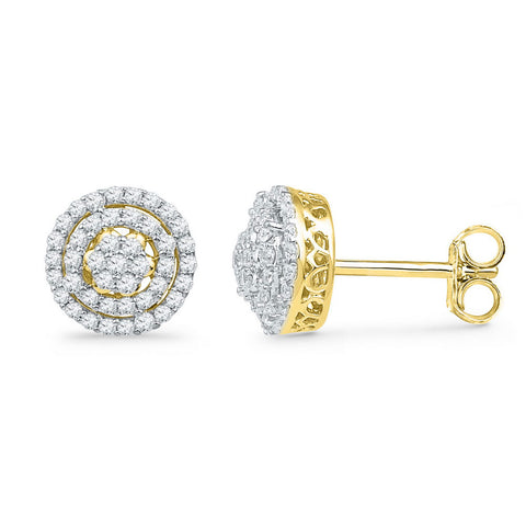 10kt Yellow Gold Womens Round Diamond Concentric Cluster Earrings 1/2 Cttw
