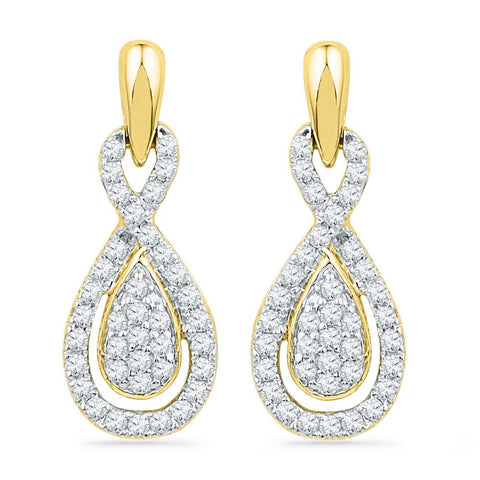 10k Yellow Gold Womens Diamond Oval-shape Dangle Earrings 1/3 Cttw