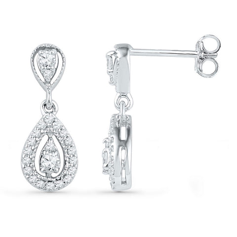 10kt White Gold Womens Round Diamond Teardrop Dangle Earrings 1/3 Cttw