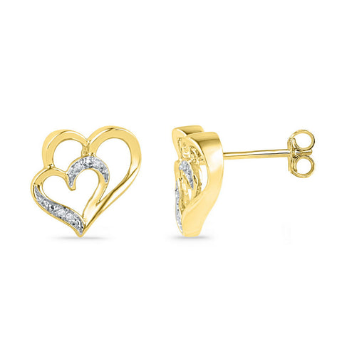 10kt Yellow Gold Womens Round Diamond Heart Earrings .03 Cttw