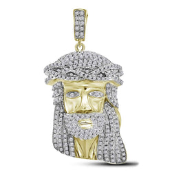 10kt Yellow Gold Mens Round Diamond Jesus Charm Pendant 1-1/3 Cttw