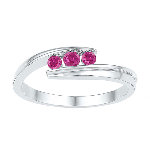 Sterling Silver Womens Round Lab-Created Pink Sapphire 3-stone Ring 1/2 Cttw