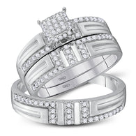 10kt White Gold His Hers Round Diamond Cluster Matching Wedding Set 1/2 Cttw