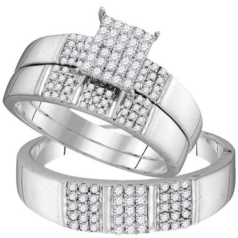 10kt White Gold His Hers Diamond Square Cluster Matching Wedding Set 1/2 Cttw