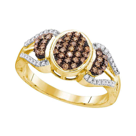 10kt Yellow Gold Womens Round Brown Diamond Oval Cluster Ring 1/3 Cttw