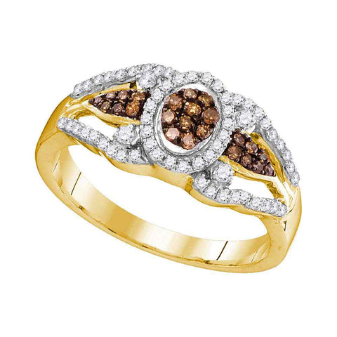 10kt Yellow Gold Womens Round Brown Diamond Cluster Ring 1/3 Cttw