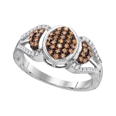 10kt White Gold Womens Round Brown Diamond Oval Cluster Ring 1/3 Cttw