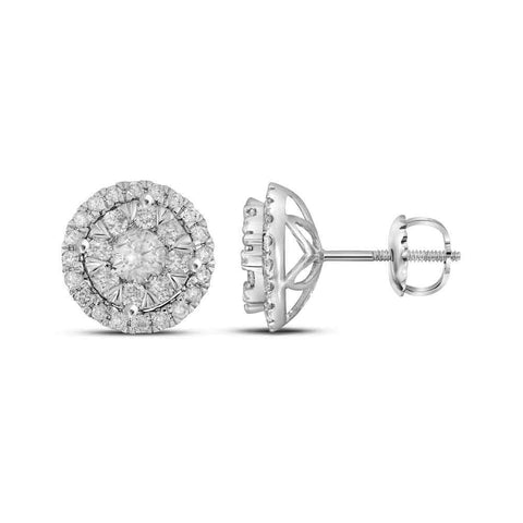 14kt White Gold Womens Round Diamond Concentric Circle Frame Cluster Earrings 1 Cttw