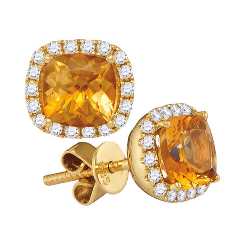 14kt Yellow Gold Womens Princess Natural Citrine Diamond Stud Earrings 1/4 Cttw