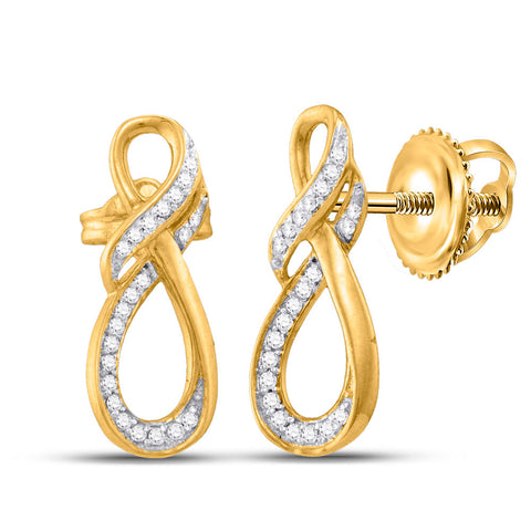 10kt Yellow Gold Womens Round Diamond Fashion Earrings 1/6 Cttw
