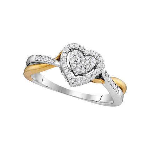 10kt Two-tone Gold Womens Round Diamond Heart Ring 1/5 Cttw