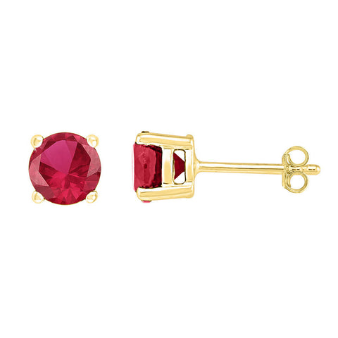 10kt Yellow Gold Womens Round Lab-Created Ruby Stud Earrings 2 Cttw