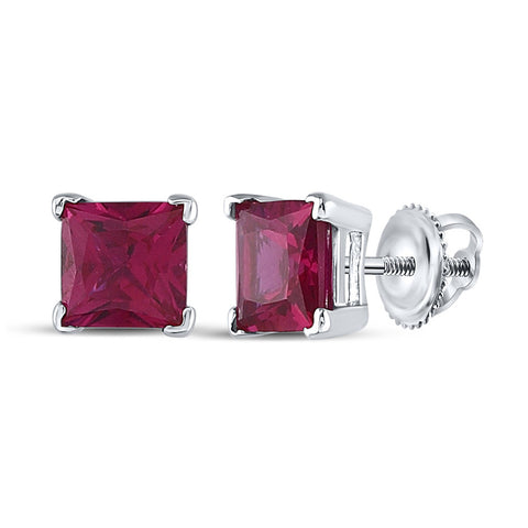 Sterling Silver Womens Princess Lab-Created Ruby Solitaire Stud Earrings 2 Cttw