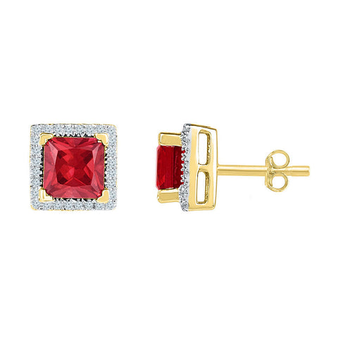 10kt Yellow Gold Womens Princess Lab-Created Ruby Stud Earrings 2 Cttw
