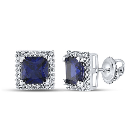 10kt White Gold Womens Princess Lab-Created Blue Sapphire Stud Earrings 2 Cttw