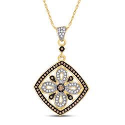 14kt Yellow Gold Womens Round Brown Diamond Square Pendant 3/8 Cttw