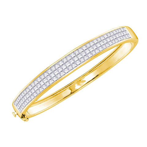 14kt Yellow Gold Womens Princess Diamond Luxury Bangle Bracelet 6 Cttw