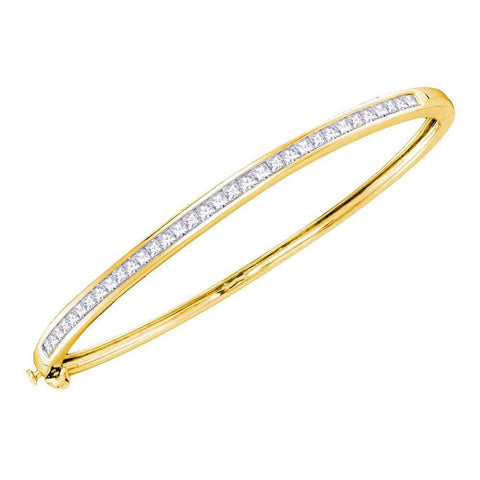 14kt Yellow Gold Womens Princess Diamond Bangle Bracelet 2 Cttw