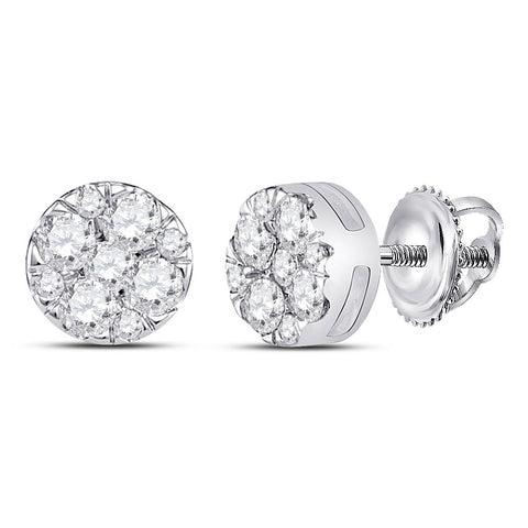 14kt White Gold Womens Round Diamond Fashion Cluster Earrings 1/4 Cttw