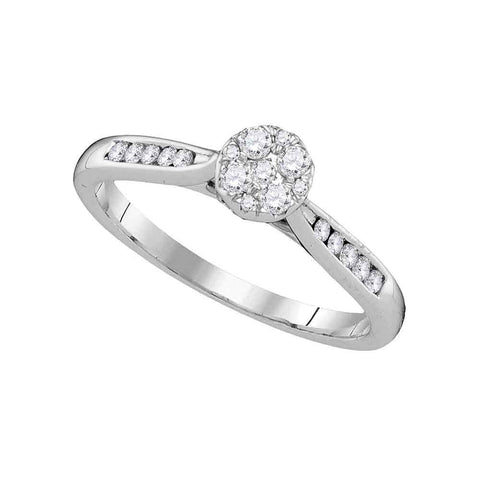 14kt White Gold Womens Round Diamond Cluster Ring 1/4 Cttw
