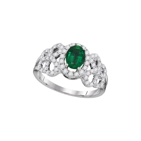 18kt White Gold Womens Oval Emerald Solitaire Diamond-accent Ring 1 Cttw